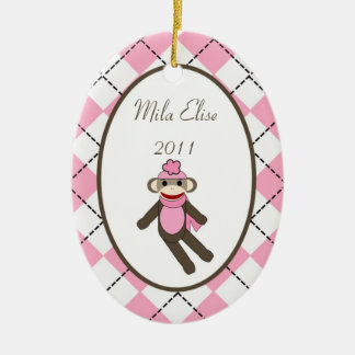 Personalized Custom Ornament Pink Sock Monkey