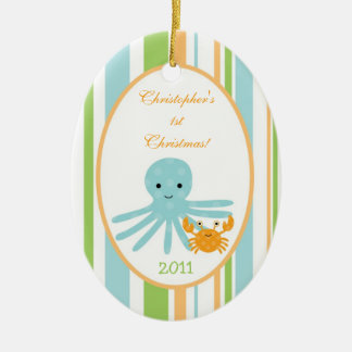 Personalized Custom Ornament Striped Ocean Sea