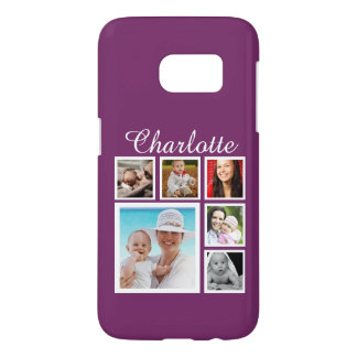 Personalized Custom Photo Collage in Purple Samsung Galaxy S7 Case