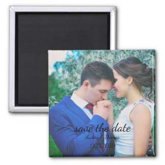 Personalized Custom Photo Save The Date Square Magnet