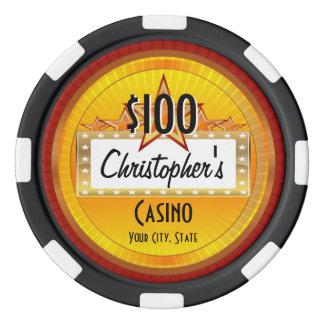 Personalized Custom Poker Chips, Gold/Red Casino Poker Chips
