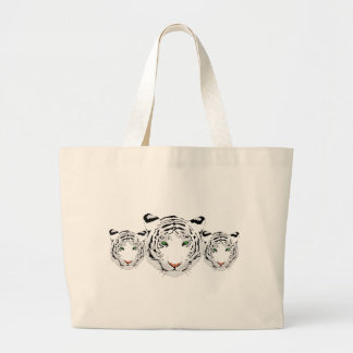 Personalized Custom Snow Tiger Large Tote Bag