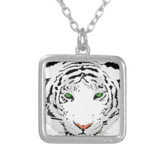 Personalized Custom Snow Tiger Silver Plated Necklace