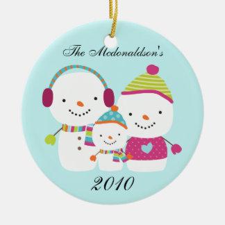 Personalized Custom Snowman Family Ornament