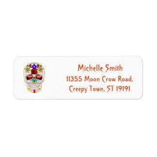 Personalized Custom Sugar Skull Halloween Return Address Label