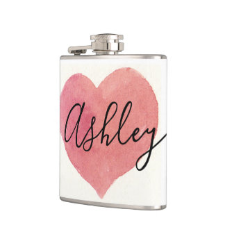 Personalized Custom Watercolor template Hip Flask