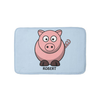 Personalized customized Animal Pig Blue Bath Mat