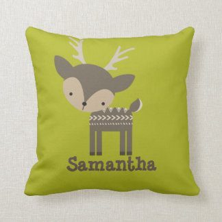 Personalized Cute Antlered Deer Pillow