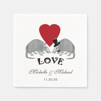 Personalized Cute Armadillos in Love Disposable Napkin