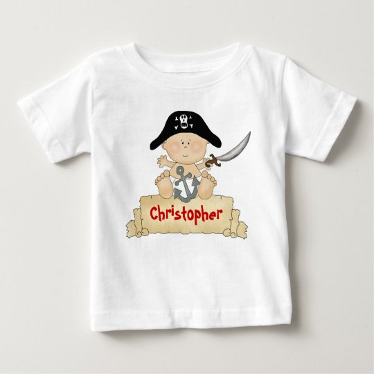 Personalized Cute Baby Pirate Boys Baby T-Shirt