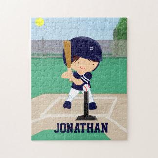 Personalized Cute Baseball cartoon player Jigsaw Puzzle