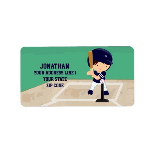 Personalized Cute Baseball cartoon player Label