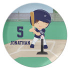 Personalized Cute Baseball cartoon player Plate