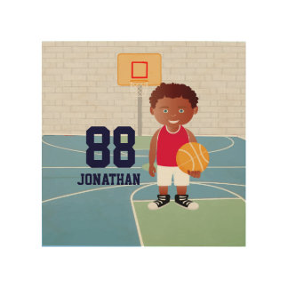Personalized Cute basketball Wood Canvas