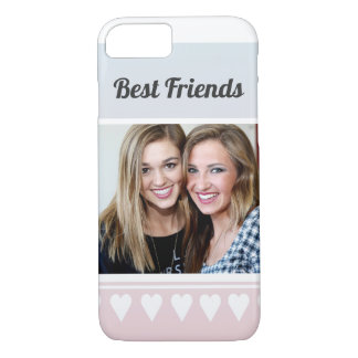 Personalized Cute Best Friends Photo Heart Ombre iPhone 8/7 Case