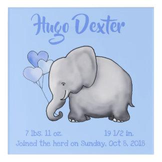 Personalized Cute Birth Stats Elephant Nursery Acrylic Print