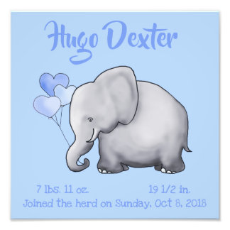 Personalized Cute Birth Stats Elephant Nursery Photo Print