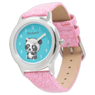 Personalized Cute Black and White Panda Bear Watch