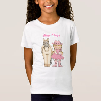 Personalized Cute Blond Cowgirl and Horse Western T-Shirt
