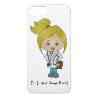 Personalized Cute Blonde Girl Doctor iPhone 7 Case