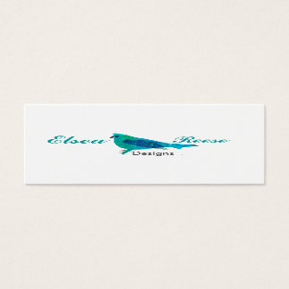 Personalized Cute Blue Bird Illustration Design Mini Business Card