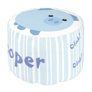 Personalized Cute Blue Chubby Pig Pouf