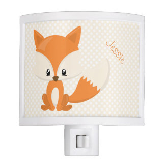 Personalized Cute Brown and Ivory Fox & Polka-Dot Nite Light
