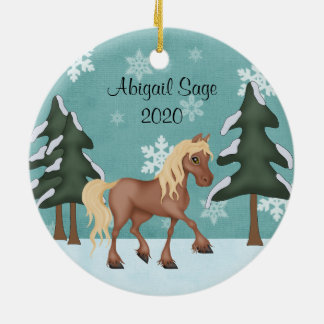 Personalized Cute Brown Horse Christmas Ceramic Ornament