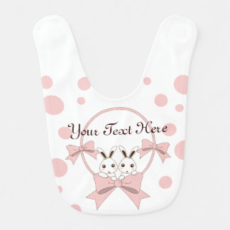 Personalized Cute Bunnies w/ Pink Ribbons Girls Bib