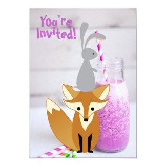Personalized Cute Bunny and Fox Milkshake Birthday Card