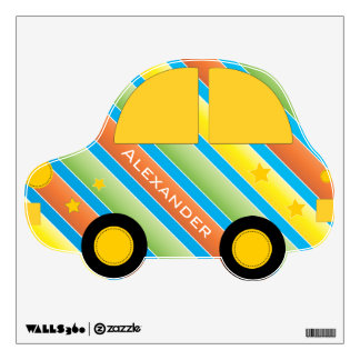 Personalized Cute Car Baby Boy or Big Boy Toddler Wall Decal