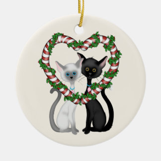 Personalized Cute Cat Couple and Candy Cane Wreath Round Ceramic Ornament
