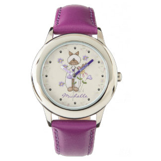 Personalized Cute Cat, Flowers, Paw Prints Girls Watch