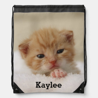 Personalized Cute Cat Kitten Drawstring Bag