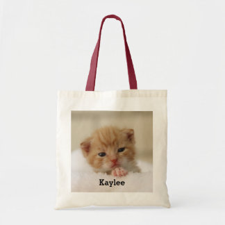 Personalized Cute Cat Kitten Tote Bag