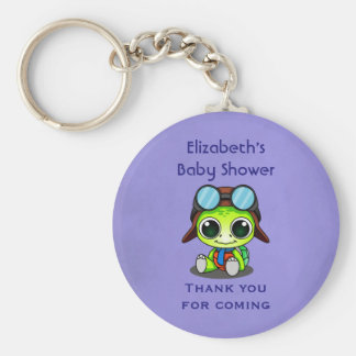 Personalized Cute Chibi Turtle Baby Shower Favor Basic Round Button Keychain