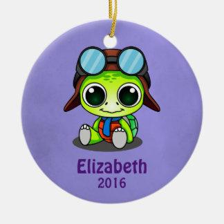 Personalized Cute Chibi Turtle in Aviator Hat Round Ceramic Ornament