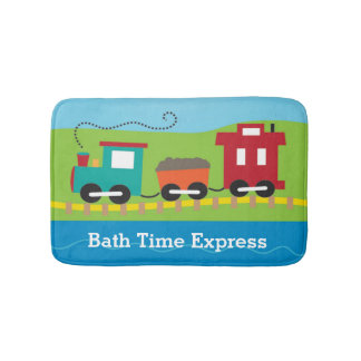 Personalized Cute Choo Choo Train Bathroom Mat