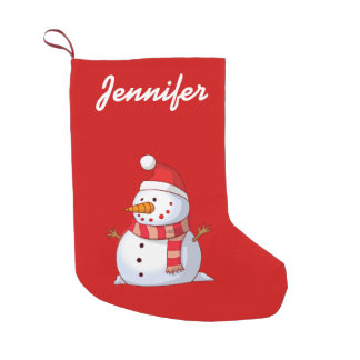 personalized Cute Christmas Snowman Small Christmas Stocking