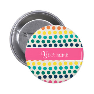 Personalized Cute Colorful Polka Dots 2 Inch Round Button