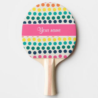 Personalized Cute Colorful Polka Dots Ping Pong Paddle