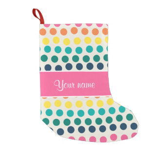 Personalized Cute Colorful Polka Dots Small Christmas Stocking