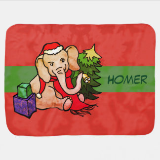 Personalized Cute Colourful Santa Cartoon Elephant Baby Blanket