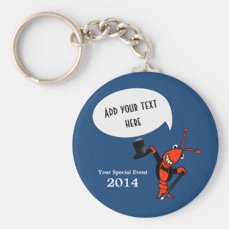 Personalized Cute Crawfish Lobster Top Hat Blue Keychain