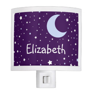Personalized Cute Crescent Moon Starry Night Nite Lights