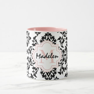 Personalized cute damask monogramed mug