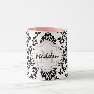 Personalized cute damask monogramed mug