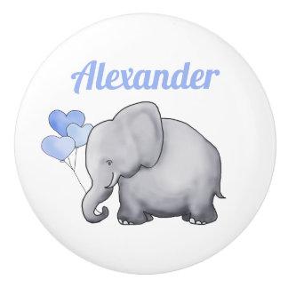 Personalized Cute Elephant Baby Boy Nursery Ceramic Knob