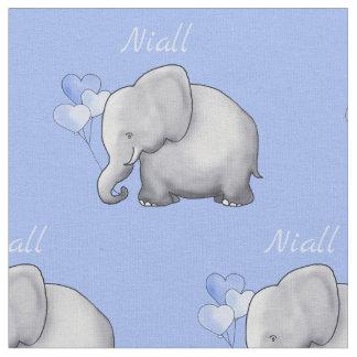 Personalized Cute Elephants Baby Boy Nursery Fabric