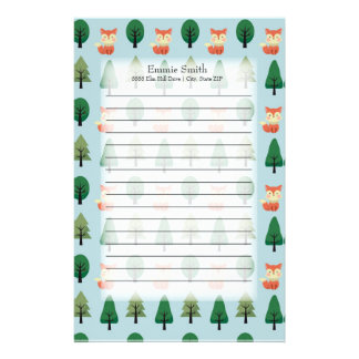 Personalized Cute Foxes and Trees on Blue Stationery
